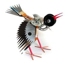 Designed by Ann Smith, these unique robotic animals are a creative method of recycling old electronics and machine parts.