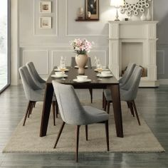 Sasha Curved Grey Linen Upholstered 7-piece Angled-leg Dining Set | Overstock.com Shopping - Big Discounts on Dining Sets