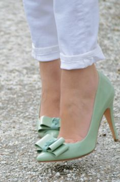 mint bow pumps @J.Crew