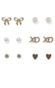 Deb Shops Set of Six Pairs of Stud Earrings with Stone, Flower, Love $8.90