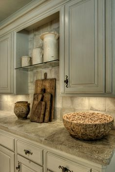 Color of cabinets...17th century French Stone Counters, Gray cabinets - love the old boards