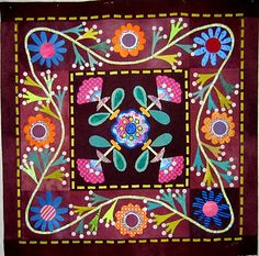 Spargo wool applique design sewn by Nifty Quilts