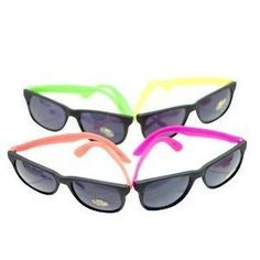 4 Neon Sunglasses Hip Hop 80's Shades Glasses - Dark lenses - 4 hot neon colors!