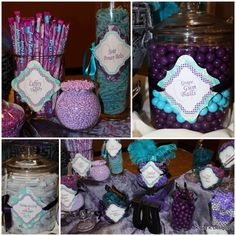 wedding favors, candy buffet, turquoise and purple birthday, color pallets, candy favors, purple wedding, candi buffet, purpl candi, candi bar