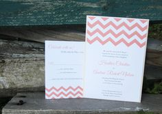 coral and shell chevron clutch  |  pocket wedding invitation in peach