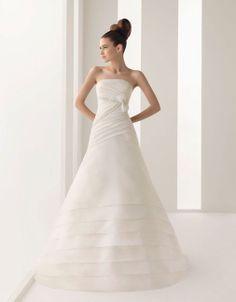 Strapless A-line natural waist organza bridal gown