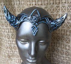 silvery blue horned headdress http://organicarmor.com/product/hathor-horns-11/