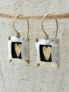 Square Silver Earrings with Gold Heart.  via Etsy.
