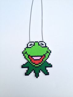 Kermit the Frog perler beads necklace by PixWearDesigns