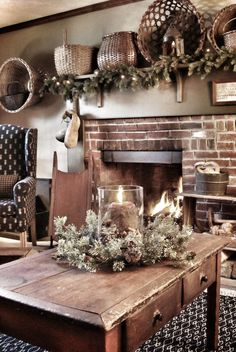 Primitive Decorating Ideas | Country Primitive.  Love the wreath candle ring!