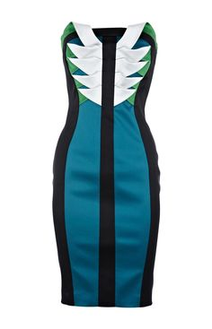 Karen Millen Signature Stretch Satin Dress Black and Green ,fashion karen millen outlet