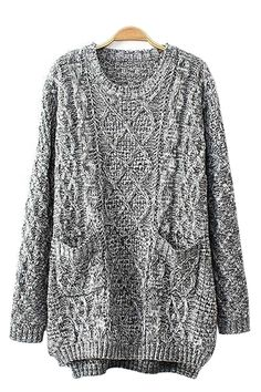 Grey Two-Pocket Long Sleeves Loose Sweater