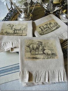Osnaburg is the fabric used. It has the nubby texture of linen but without all the fussiness since it's 100% cotton. This blogger has a wonderful site filled with inspiraton & craft ideas with the vintage french persuasion.