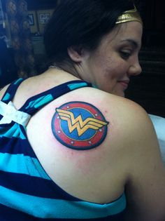 My new Wonder Woman logo, reminding me everyday, no matter what, Wonder Woman's got my back!...Graceland Tattoo, Wappingers Falls, artist Joe Pepper