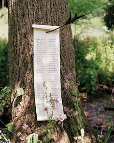 ingenious idea for a seating chart for outdoor wedding - posted to tree outdoor seating, robin, seat chart, plan de tables, seating plans, hood, outdoor weddings, outdoor receptions, seating charts
