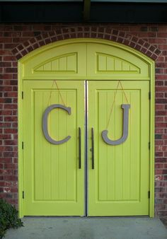 Large initials on entry doors