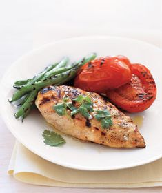 Grilled Chicken With Green Beans and Tomatoes Recipe