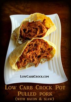 Low Carb Crock Pot Pulled Pork (with bacon and low carb coleslaw!) lowcarbcrock.com