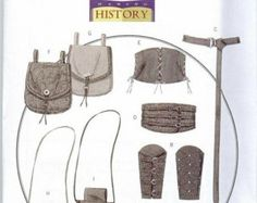 Renaissance Costume Accessories Patterns Butterick 5371 Sizes S-M-L Bracers corset belt and pouches