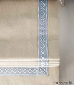 Flat fold trimmed roman shade