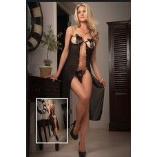 Open Cups Sheer Long Dress Black | Sensuous Sexy Nightwear | Surprise him | Buy sexy nightwear online on sexpiration.com