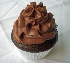 """Chocolate Cupcakes with Tofu Chocolate Mousse Frosting from """"Vegan Cupcakes Take Over the World."""" The Mexican Hot Chocolate Cupcake recipe is my favorite, but this frosting is The Best."""