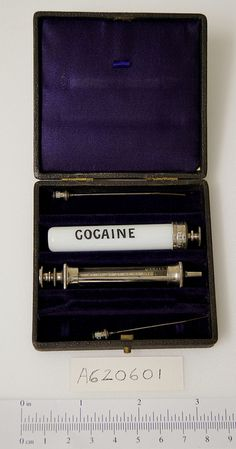 """""""Victorian syringe case for cocaine by Science Museum London.  An interesting article on the Addictive History of Medicine is here, mentioning Holmes, of course."""" cocaine was used as a normal remedy for colds, and it was also used as a literary vice, used by Conan Doyle, when writing the famous 'Sherlock Holmes' #apeurovictoria"""