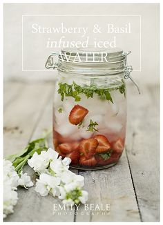 Strawberry & Basil infused iced water