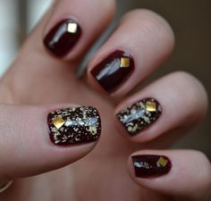 gold stud nailart