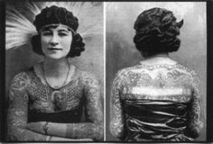 Artoria, born in Wisconsin in 1893, with the birth name of Anna Mae Burlingston. Apparently she met her future husband Charles 'Red' Gibbons whilst hanging around outside a carnival. He was a tattoo artist and told her that he could make famous and she could see the world if she let him tattoo her and join the carnival. What a lovely wedding proposal! Although, this was quite normal for most tattooed ladies of the time, with their tattooist husbands making them their calling cards so to speak.