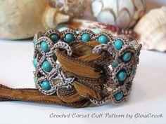 boho chic, crochet cuff, crocheting patterns, corset, bracelet patterns, cuff bracelets, crochet bracelet, bohemian, crocheted bracelets