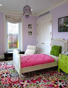 Cute girls room. Purple color. Chandelier. Crazy carpet.