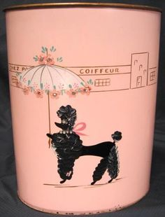 Ransburg Pink Waste Can Trash Basket Bin Hand Paint French Poodle & Rhinestones
