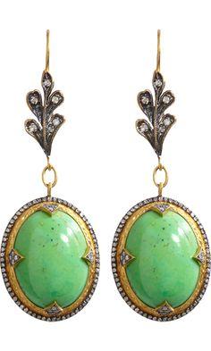 Cathy Waterman Gaspeite & Micropave Diamond Drop Earrings
