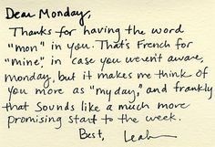 Read this every Monday morning.
