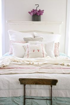 interior, pillow, dreamy whites, headboards, grain sack