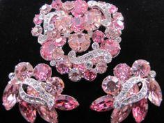 Vintage Pink Rhineston Eisenberg Pin Earring Set Signed Glowing WOW Demi Parure | eBay