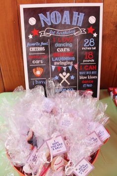 """... for a 1st birthday and baseball favor tags- """"I Hope You Had a Ball"""