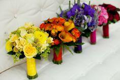 Bouquets fit for a rainbow wedding #rainbow #wedding wedding designs, rainbow bridesmaids bouquets, wedding bouquets, wedding blog, yellow bouquets, rainbow wedding, colorful weddings, bridesmaid bouquets, flower