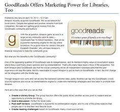 """""""GoodReads Offers Marketing Power for Libraries, Too"""" - New Jersey State Library, 2013."""