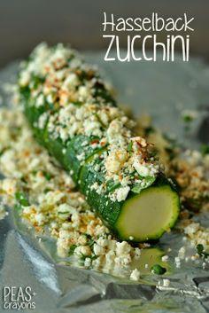Hasselback Zucchini with Lemon, Basil, + Feta