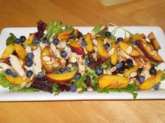 peach blueberri, chicken salads, eat salad, food, blueberri salad