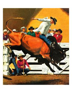 Bull Riding, July 21, 1945 Giclee Print by Fred Ludekens