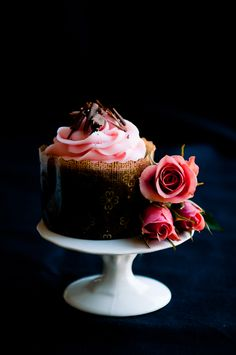 Double chocolate (espresso) pound cake with rose-scented cream cheese frosting