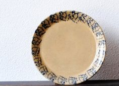 Vintage Baking Pan Pie Plate, Deep Dish Robinson Ransbottom Pottery Blue Spongeware, Roseville Ohio. $29.00, via Etsy.