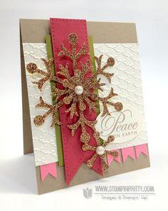 Stampin up Christmas card by Mary Fish.  Love... christma card, christmas cards, card idea, paper snowflakes, cricutsilhouett papercraft, diy craft, snowflak card, christmas stampin up cards, stampin up christmas