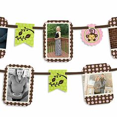 Monkey Girl - Baby Shower Photo Garland Banners | Baby Shower Supplies from BigDotOfHappiness.com #PartyIdeas