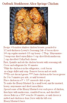Outback Steakhouse Alice Springs Chicken Recipe