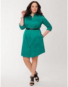 Plus Size Sateen Shirt Dress by Lane Bryant | Lane Bryant