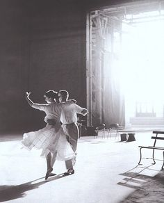 Magic. Audrey Hepburn & Fred Astaire on set of 'Funny Face.'
